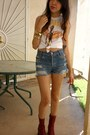 Red-mia-boots-blue-shredded-levis-shorts-white-nirvana-t-shirt