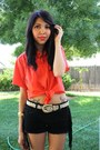 Black-leather-tassel-forever-21-shorts-metallic-thrifted-belt-carrot-orange-