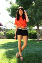 black leather tassel Forever 21 shorts - metallic thrifted belt - carrot orange