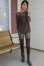 Black-tights-gray-lace-up-boots-dark-brown-sweater