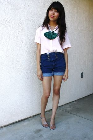 pink thrifted blouse - blue BDG shorts - green Urban Renewal - thrifted shoes