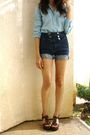 Blue-bdg-shirt-bdg-shorts-brown-shoes