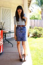 gray Sparkle & Fade shirt - purple vintage skirt - black seychelles shoes - brow