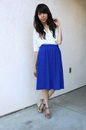 white Silence  Noise blouse - blue thrifted skirt - Cynthia Vincent for Target s