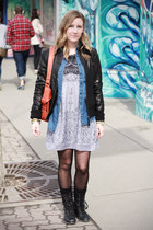 modcloth dress - Steve Madden boots - leather danier jacket
