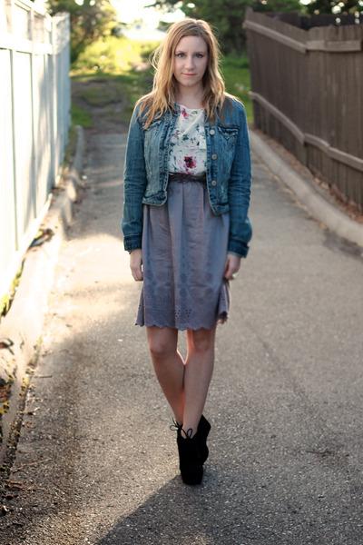 Notsoseemless skirt - jean American Eagle jacket - silk joe fresh style shirt