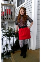 charcoal gray thrifted shirt - red Forever21 skirt - black Charlotte Russe boots