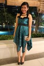 Teal-jewels-dress-black-sm-department-store-pumps