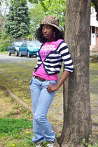 coach hat - Victorias Secret shirt - hollister sweater - Seven Jeans jeans - coa