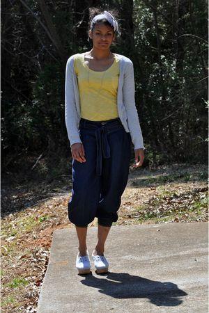 blue Rave jeans - yellow delias shirt - silver H&M cardigan - silver Aldo shoes