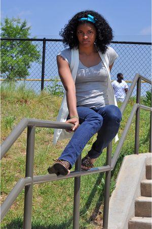 Forever 21 jeans - Shoe Land shoes - delias shirt - Walmart cardigan