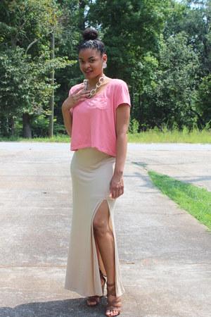 Charlotte Russe wedges - H&M shirt - Charlotte Russe skirt