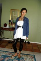 gold xi shoes - black Wet Seal leggings - white American Eagle skirt - black thr