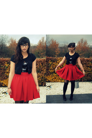 ruby red Zara skirt - black Primark shirt - black sequined Hunkemller bodysuit