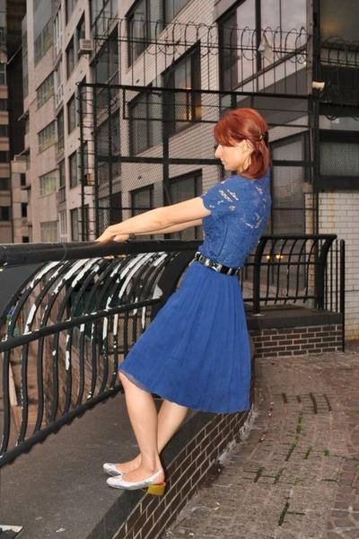 b2300ec2a3e32 Blue Vivien Tam Dresses, Silver Lanvin Shoes |