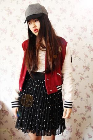Topshop jacket - asos hat - Forever 21 bodysuit - Zara skirt