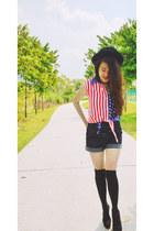 fedora Forever21 hat - ebay thigh highs socks - Wholesale-Dress top