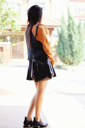 Taobao boots - gmarket bag - Zara skirt - asos sweatshirt