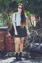 Zara skirt - Topshop boots - Zara sweater - asos bag