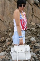 white Eileens Fashion World bag - blue Primark shoes - white asos shirt