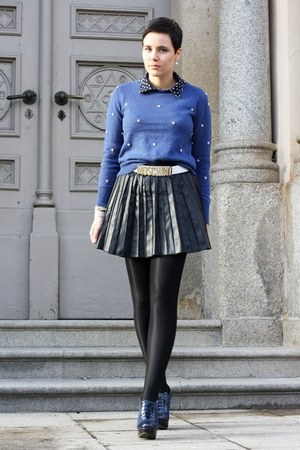 blue Primark sweater - navy Primark boots - navy blouse