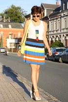 striped Pimkie skirt - New Yorker bag - roberta farc wedges - H&M necklace