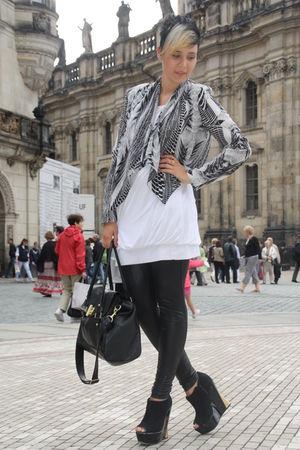 white Zara dress - black Dixie leggings - black Primark bag - H&M jacket - black