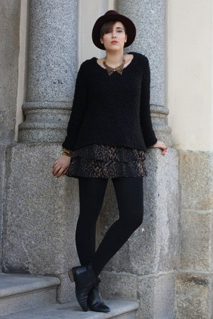 H&M hat - asos boots - leopard Primark dress - New Yorker sweater