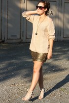 cut out sweater - sequin H&M skirt - dyrberg & kern necklace - Primark heels