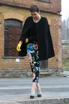 sky blue H&M pants - black cape - turquoise blue asos heels