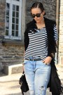 Blue-boyfriend-zara-pants-white-stripped-h-m-shirt-black-romwe-bag