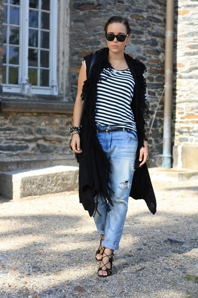 blue boyfriend Zara pants - white stripped H&M shirt - black romwe bag