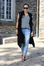 White-stripped-h-m-shirt-black-romwe-bag-black-sandals-jessica-buurman-heels