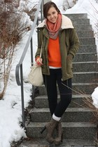 parka lucky star jacket - Only sweater - Zara scarf - treggins Dr Denim pants