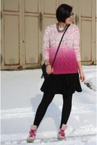 ombre Primark sweater - Primark bag - yest skirt