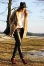 Primark-boots-leopard-print-motel-coat-deichmann-hat-romwe-blouse