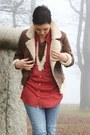 Blue-h-m-jeans-dark-brown-h-m-jacket-brick-red-primark-blouse