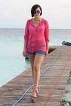 Primark shirt - H&M shorts - Primark sunglasses - Steve Madden wedges
