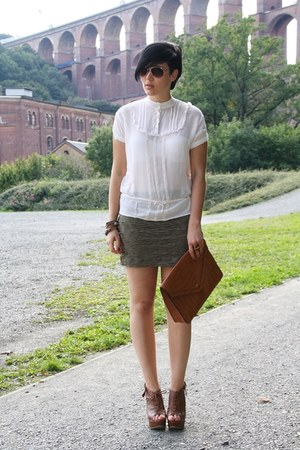 eggshell Only blouse - brown bag - olive green H&M skirt - brown Primark wedges