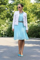 ivory yest blazer - light blue backless Chicwish dress