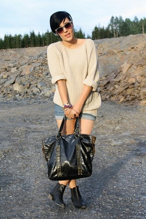 beige paperdoll sweater - black asos boots - blue H&M shorts