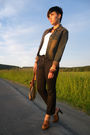 White-h-m-shirt-black-edc-pants-brown-new-yorker-jacket-brown-noname-shoes
