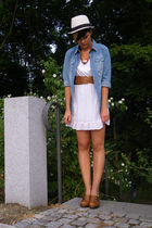 white Street One dress - brown noname shoes - blue Pimkie jacket