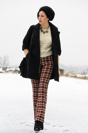 crimson plaid vintage pants - black Primark boots - eggshell paperdoll sweater