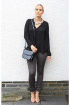 black Georgia Rose bag - brown yest pants - black Primark blouse
