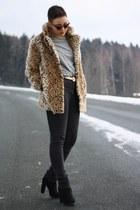 brown Motel Rocks coat - black Primark shoes - heather gray H&M shirt