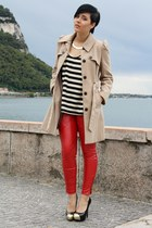 red leather 3 suisses pants - beige Primark coat - black ohmyfrock shirt
