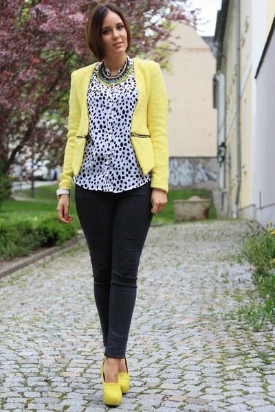 yellow zipper Sheinside blazer - dark gray Cheap Monday pants - yellow heels