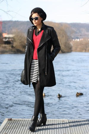 yest sweater - new  yorker boots - leather sleeves Sheinside coat - pieces bag