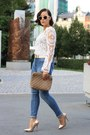 Blue-high-waist-primark-jeans-light-brown-clutch-hallhuber-bag